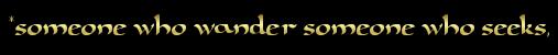 *someone who wander someone who seeks,