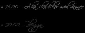 » 16.00 - Åka skridskor med vänner » 20.00 - Plugga