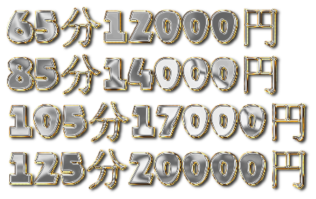 65分12000円 85分14000円 105分17000円 125分20000円