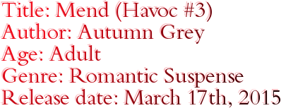 Title: Mend (Havoc #3) Author: Autumn Grey Age: Adult Genre: Romantic Suspense Release date: March 17th, 2015