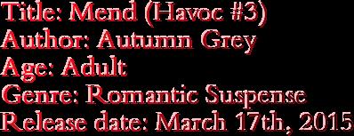 Title: Mend (Havoc #3) Author: Autumn Grey Age: Adult Genre: Romantic Suspense Release date: March 17th, 2015