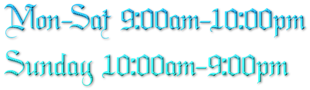 Mon-sun 9:00am-10:00pm