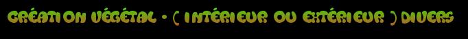 création végétal - ( intérieur ou extérieur ) divers